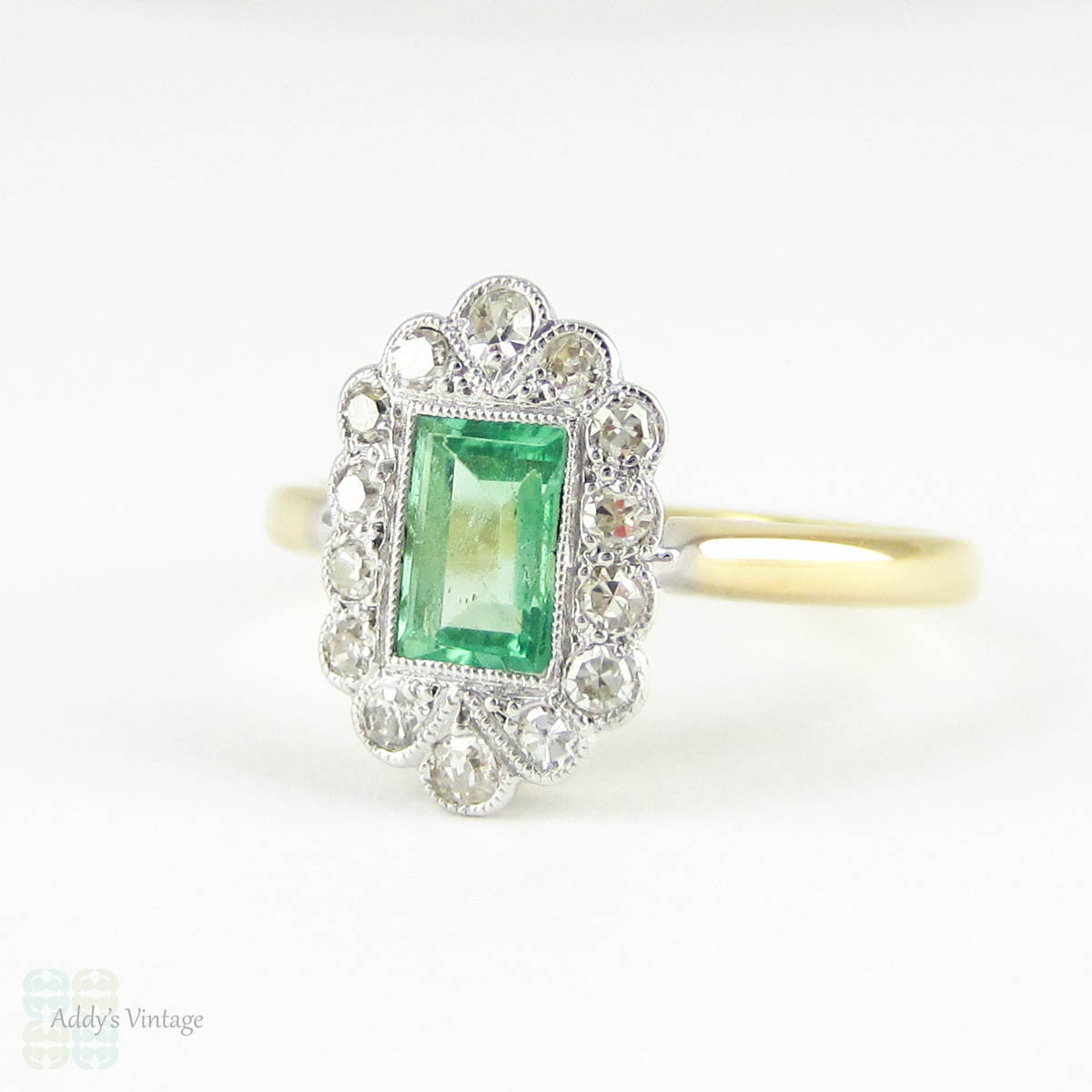 deco emerald engagement ring light green