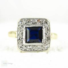 BALANCE. Sapphire & Diamond Engagement Ring, Art Deco Square Shape Blue Sapphire with Diamond Halo. Milgrain Detail,18ct Plat, 1930s.