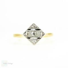 Art Deco Square Set Diamond Ring, Five Stone in Triple Row Pierced Style Setting with Milgrain Beading. 18ct & Platinum, Circa 1930s.