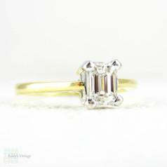 Emerald Cut Diamond Engagement Ring, Single Stone Rectangular Step Cut 0.40 Carat Diamond Solitaire. Estate 18 Carat Gold Ring.