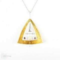 SALE Mid Century Geometric Pendant, 18 Carat Yellow & White Gold Triangle Design Pendant with Round Brilliant Cut Diamonds and Cultured Pearl.
