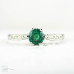 Emerald Engagement Ring in Vintage Style Platinum Setting, 0.21 ct Round Cut Vivid Green Emerald in Engraved Beaded Platinum Setting.