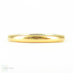 Vintage Wedding Band in 22 Carat Gold & Platinum. Domed D Profile Bright Gold Ladies Wedding Ring. Size L.5 / 6.15.