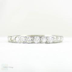 Art Deco Diamond Eternity Ring in Platinum. Diamond Full Hoop Wedding Ring with Engraved Sides, Circa 1930s. Size P / 7.75.