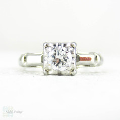 1940s Diamond Engagement Ring, Single Stone Ring, 0.22 ct, in Square Shaped Setting, 18 Carat White Gold Classic Engagement Ring.