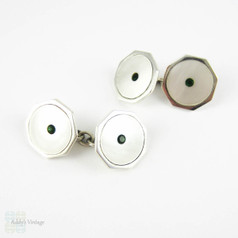 Vintage Sterling Silver Cuff Links. Mother of Pearl & Green Paste Late Art Deco Man's Cufflinks.