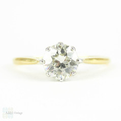 Vintage Diamond Engagement Ring, 0.76 ct Old European Cut Single Stone Diamond Ring. Circa 1930s, 18ct.
