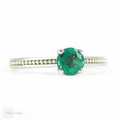 Emerald Engagement Ring, 0.33 Carat Emerald in Vintage Style Beaded 18 Carat White Gold Setting.