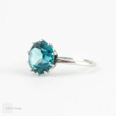Vintage Blue Zircon & Platinum Engagement Ring, Blue Zircon Solitaire in Platinum Claw Setting, Late Art Deco Single Stone Ring.