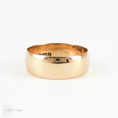 Antique Wide 9 Carat Rose Gold Wedding Ring, 1890s Ladies Wide Wedding Band. Size O / 7.25.