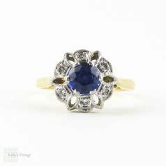 Vintage Sapphire & Diamond Engagement, Mid Century Blue Sapphire in Snowflake Floral Style Diamond Halo. 18 Carat Gold.