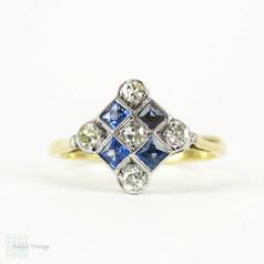 Art Deco Diamond & Sapphire Ring, Chequerboard Design with Round Cut Diamonds and Square Cut Blue Sapphire. 18 ct & Platinum.