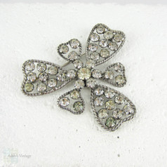 Vintage Rhinestone Brooch, Large Three Leaf Clove with Rope Twist Edge in Sterling Silver. Mid Century Pin Brooch, Circa 1950s.