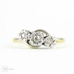 Vintage Diamond Three Stone Engagement Ring, Twist Style Trilogy Ring.  Art Deco Diamond Ring, 18ct & Platinum.