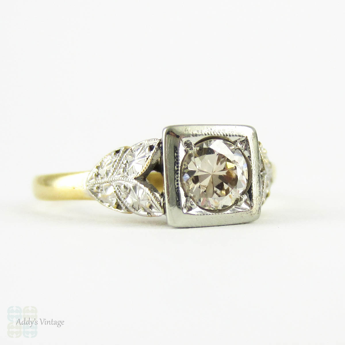 Art Deco Engagement Ring Early Round Brilliant Cut Diamond in Square Setting