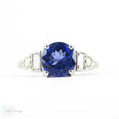 Tanzanite & Diamond Engagement Ring, Vintage Art Deco Baguette Diamond & Platinum Setting with 0.92 ct Tanzanite.