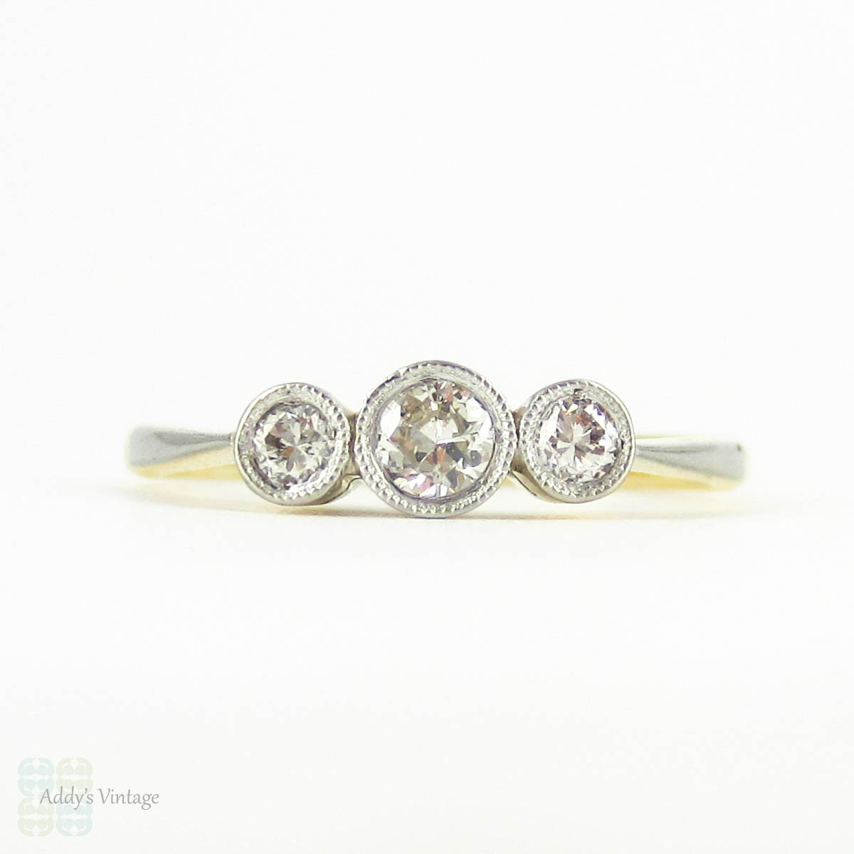 vintage three ring dainty deco bezel