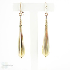 Antique Long Torpedo Drop Earrings, 15 Carat Yellow Gold Dangle Earrings. Late Victorian Circa 1890s.