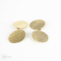 Art Deco Men's Cuff Links. 1920s Engine Turned 9 Carat Yellow Gold Double Sided Oval Shape Cufflinks. Fully Hallmarked 1928.
