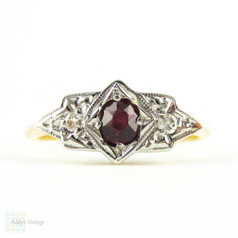 Art Deco Ruby & Diamond Engagement Ring, Three Stone Ring with Oval Cut Dark Red Ruby in Geometric Shape. Circa 1930s, 18ct & Plat.