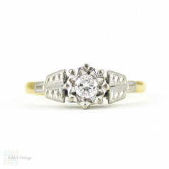 1940s Round Brilliant Diamond Engagement Ring, Single Stone Diamond Ring in Engraved Two-Tone 18ct & Platinum Setting.