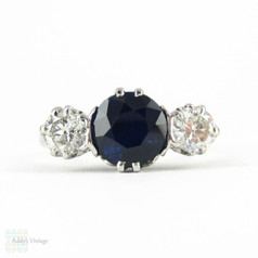 Sapphire & Old European Cut Diamond Engagement Ring, Three Stone Vintage Trilogy Ring, 2.41 ctw. Circa 1930s, 18ct & Platinum.