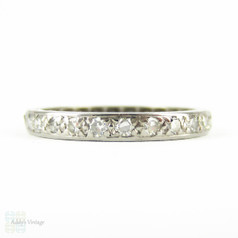 Vintage Diamond Eternity Ring, Full Hoop Pave Set 18 Carat White Gold Wedding Band with Hand Engraved Sides. Circa 1930s, Size N / 6.75.