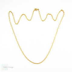 Vintage 9 Carat Yellow Gold Chain, Heavy Link Gold Pendant Chain or Necklace. 57 cm / 22.45 inches, 6 grams.