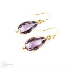 Antique Amethyst Earrings, Victorian Pear Cut Amethyst Drops in 14 Carat Gold, Circa 1870s.