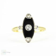 Art Deco Onyx & Diamond Dress Ring, Navette Shape Onyx with Old European & Rose Cut Diamonds. Circa 1920s, 18 Carat Gold.