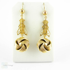 Victorian Knot & Etruscan Revival Earrings, Antique 9 Carat Gold Love Knot Dangle Earrings. English 19th Century, Hallmarked 1890s.