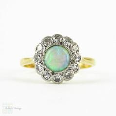 Vintage 1930s Opal & Diamond Ring, Cabochon Cut Opal with Diamond Halo. Art Deco, 18 Carat Gold & Platinum.