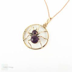 Antique Amethyst Spider Pendant, 9 Carat Gold Bug Necklace. Edwardian Era, Circa 1900 on 9k Rose Gold Chain