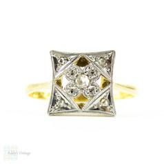 Art Deco Diamond Ring, Square Shape Panel Ring With Rose Cut Diamonds & Flower Design. Circa 1920s, 18ct & Platinum.