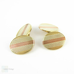 Vintage Men's 9ct Cuff Links. Yellow, Rose & White Gold Oval Double Faced Cufflinks with Engine Turned Design, Circa 1930s.