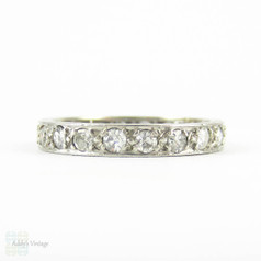 Antique Diamond & Platinum Eternity Ring, Full Hoop Diamond Wedding Band with Engraved Sides. 0.60 ctw, Circa 1900s, Size O / 7.25.