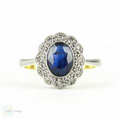 Edwardian Sapphire & Diamond Engagement Ring, Oval Cut Blue Sapphire with Diamond Halo. Circa 1900, 18ct & Platinum.