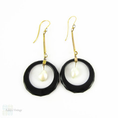 Art Deco Onyx & Cultured Blister Earrings, Classic Black & White Style Dangle Earrings. Circa 1920s, 9 Carat Gold.