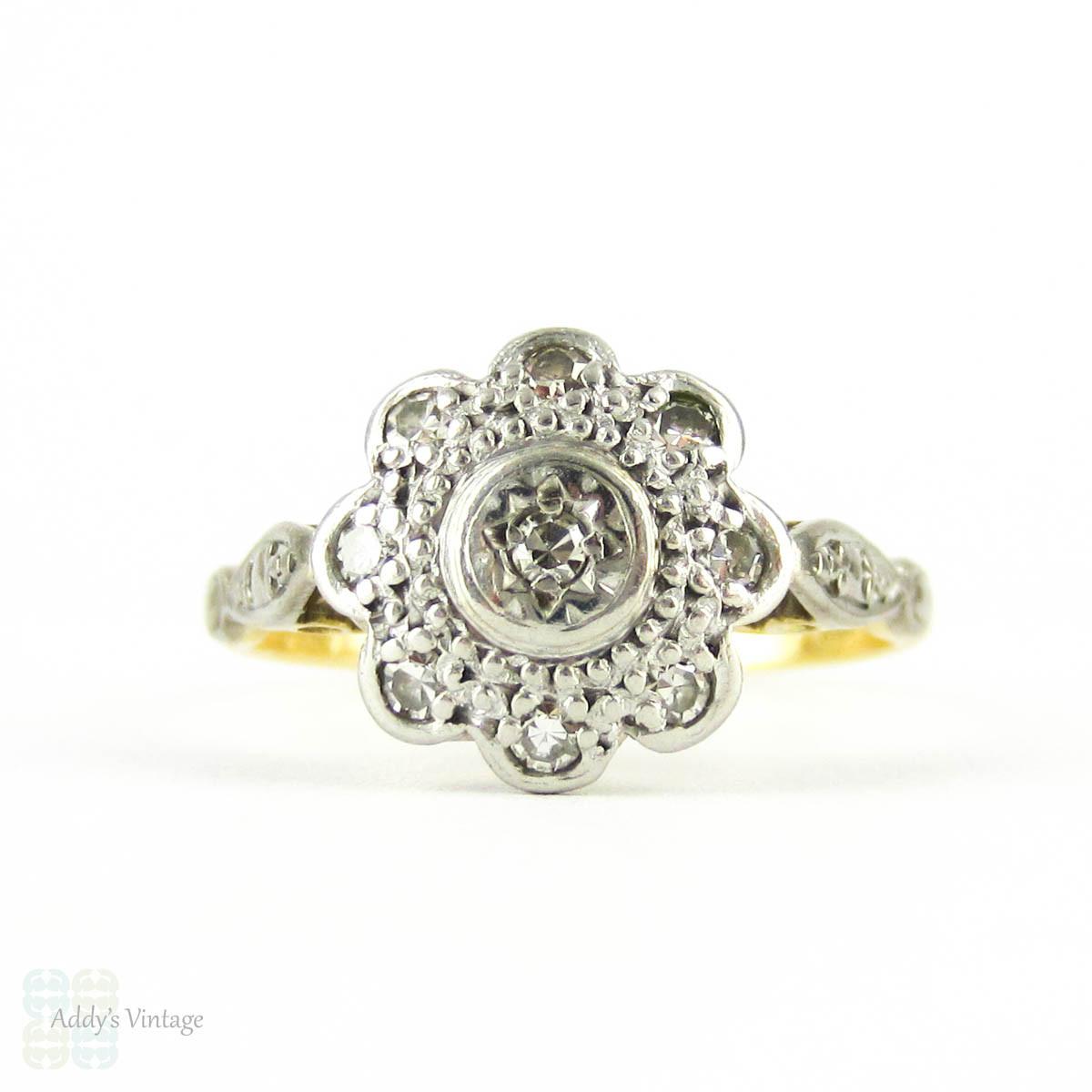 vintage diamond flower shape engagement ring 1960s diamond cluster ring in 18ct gold platinum. Black Bedroom Furniture Sets. Home Design Ideas