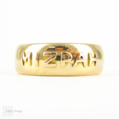 Antique 18ct Gold Mizpah Ring, Wide Cigar Band Style Wedding Ring. Late Victorian, Circa 1880s, Size R / 8.75.