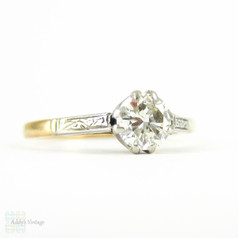 Diamond Solitiare Engagement Ring, Vintage Round Brilliant Cut 0.51 ct Diamond in Engraved 18ct & Platinum Setting.