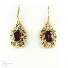 Vintage Garnet Earrings, Large Red Garnet Drop in Ornate 9ct Frame Dangle Earrings.