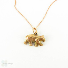 Antique 9ct Edwardian Bear Charm, Small Bear Pendant on Modern 9k Rose Gold Chain.