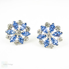 Vintage Rhinestone Clip On Earrings, Floral Design Blue & White Large Diamanté Earrings by B David. Marquise Shaped Stones, Circa 1950s.