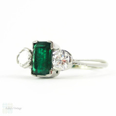 Vintage Emerald & Diamond Three Stone Engagment Ring, Emerald Cut Emerald with Round Brilliant Diamonds. PLAT, Circa 1940s.