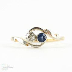 Edwardian Sapphire & Diamond Engagement Ring, Toi et Moi Style Twist Bypass Ring with Engraved 18ct Setting.