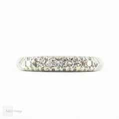 Vintage Diamond Wedding Ring, Platinum 7 Stone Half Hoop Band with Knife Edge Shank, 0.10 ctw, Circa 1940s.