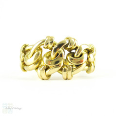 Antique Knot Design Ring, 18 Carat Yellow Gold. Bold & Curvy Knotted Edwardian Keeper Ring, Circa 1900s. Fully Hallmarked Wedding Ring.