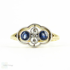 Sapphire & Diamond Dress Ring, Antique Four Stone Engagement Ring with Blue Sapphire & Old European Cut Diamonds. 18ct, Circa 1910s.
