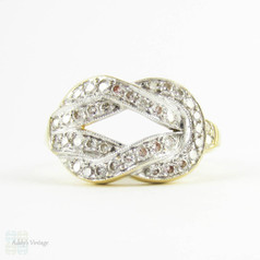Estate Diamond Knot Ring, Vintage Style Diamond Encrusted Lover's Knot Ring. 18 Carat Gold, 1990s.